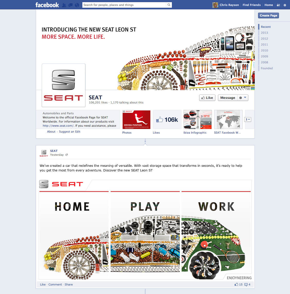seat facebook screen